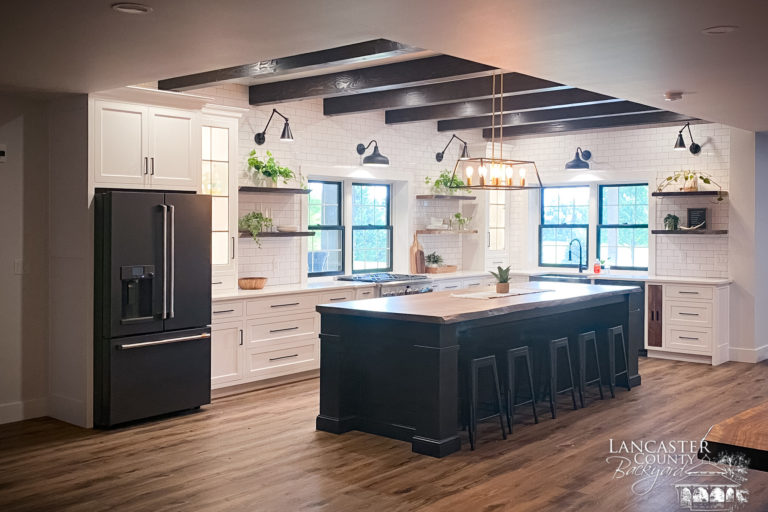 timber framing beam in interior custom kitchen ceiling