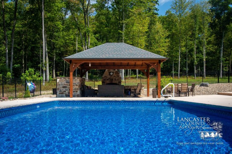 16x20 cheyenne outdoor wood pavilion with pool