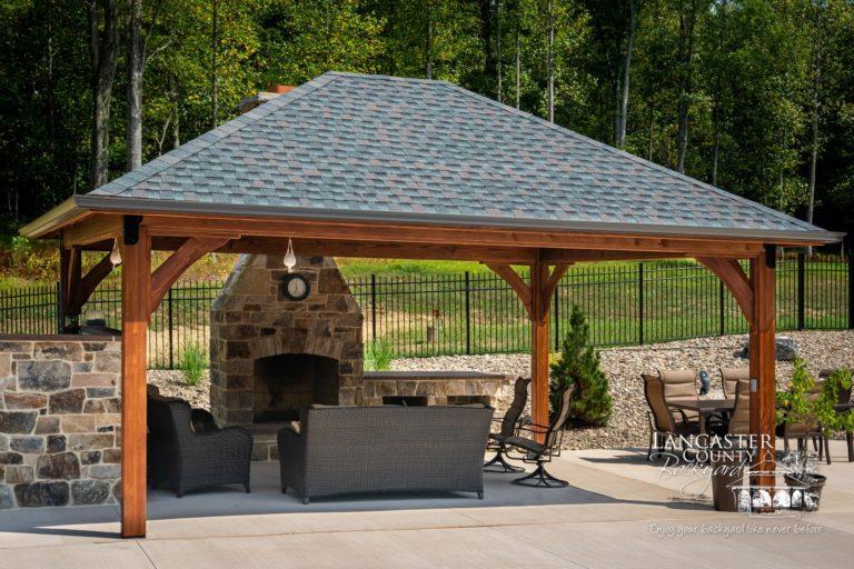 16x20 Cheyenne Wooden Backyard Pavilion