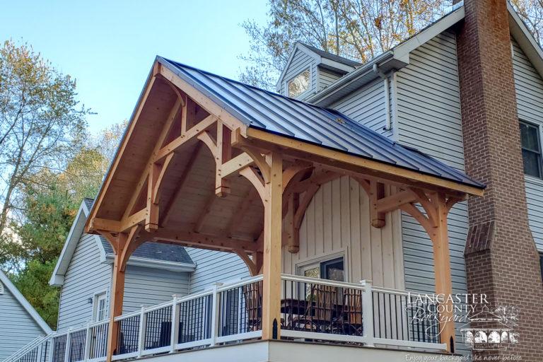 20x12 denali timber frame pavilion built on porch