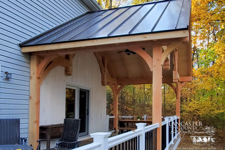 20x12 denali timber frame pavilion standing seam metal roof