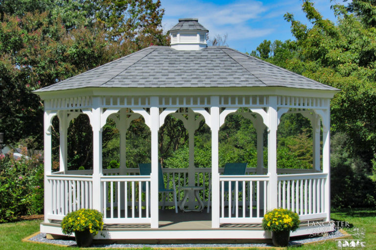 12x16 oval vinyl gazebo delivered