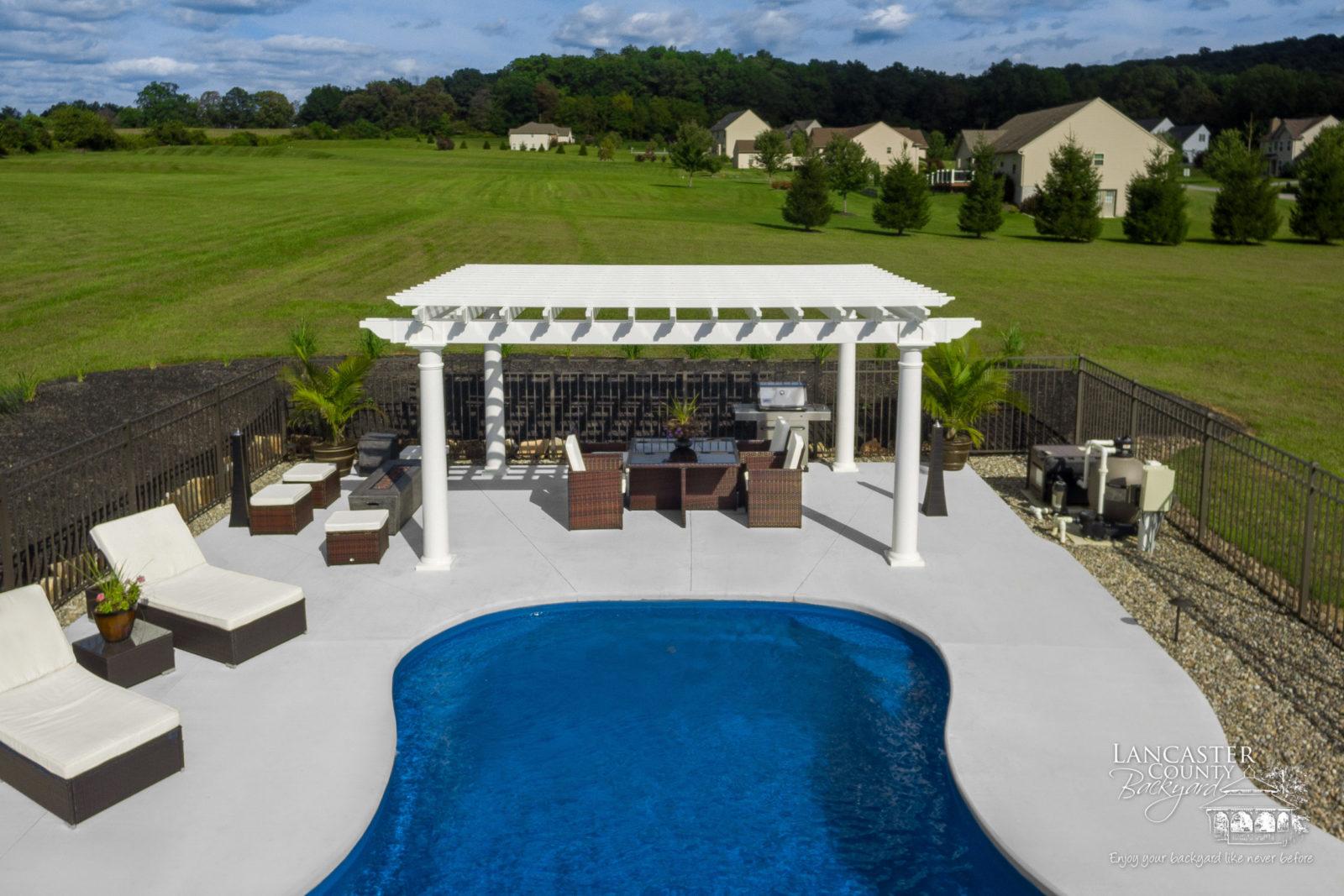 luxury poolside pergola for sale in mertztown pa