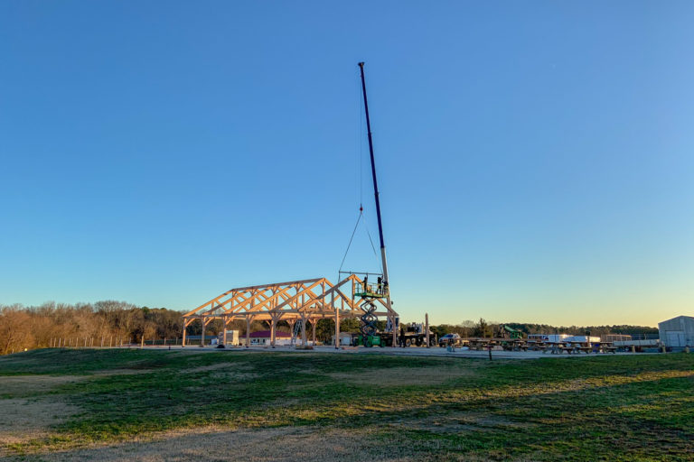 kingston timber frame pavilion being set