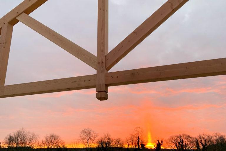 kingston timber frame pavilion being built