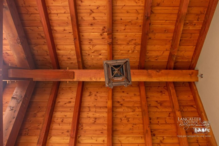 custom timber frame joinery in new jersey with ceiling light
