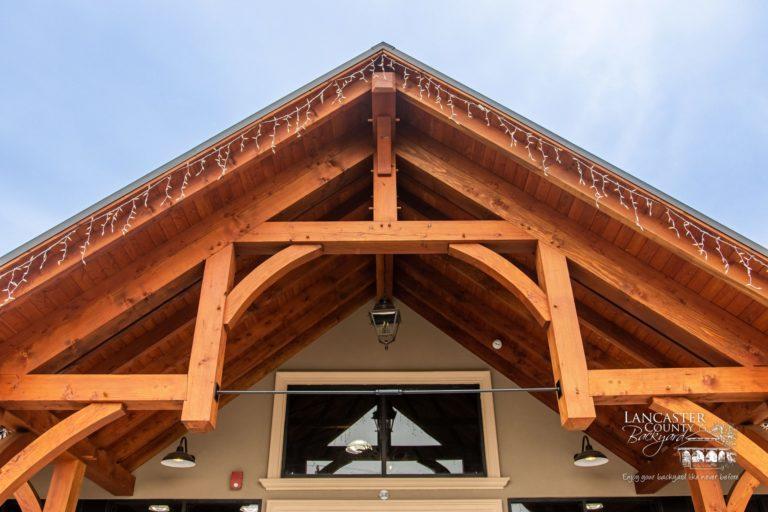 large timber frame trusses on storefront