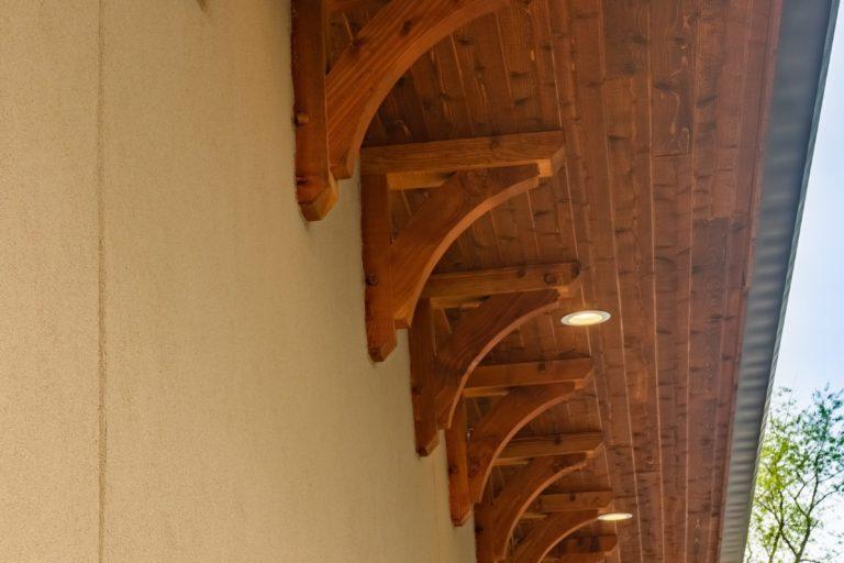 beautiful custom timber framing with lighting