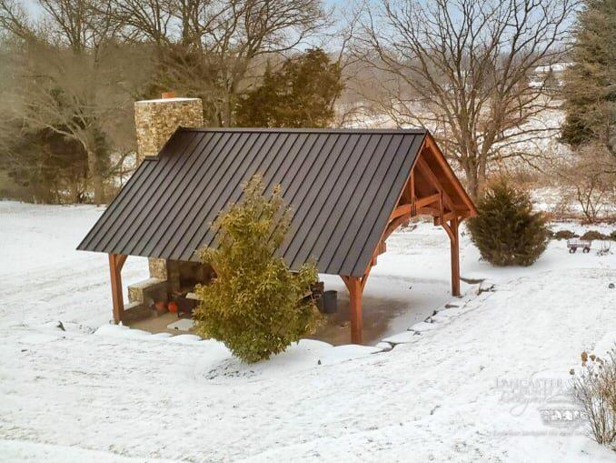 gathering place, grand teton timber frame pavilion
