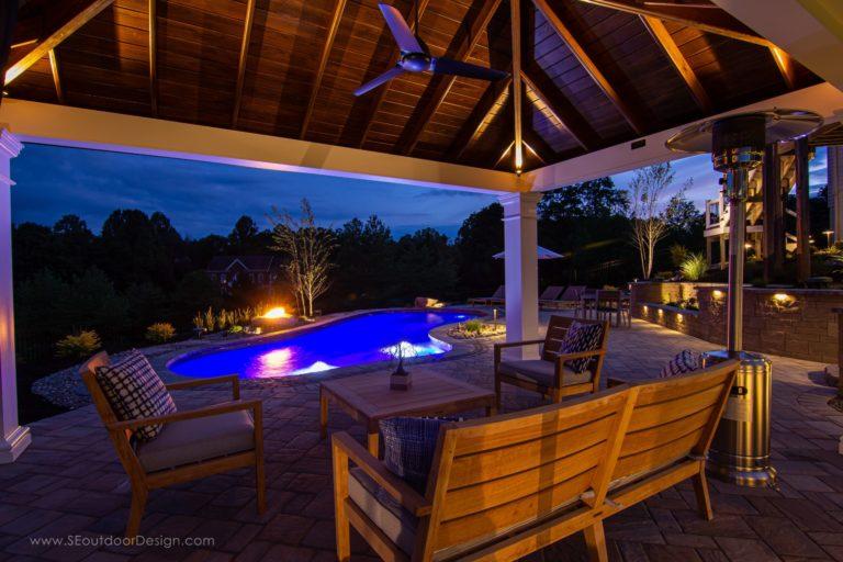 12x18 caribbean vinyl pavilion with a pool