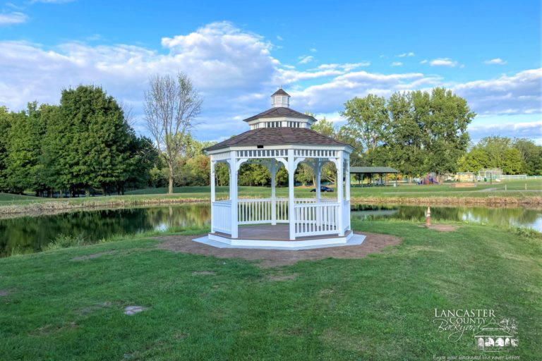 12x12 Vinyl Gazebo with Double Roof