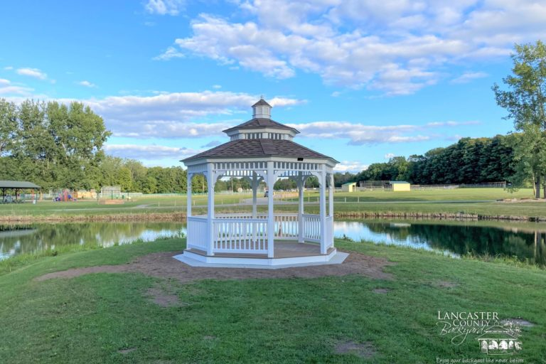 12x12 Vinyl Octagon Gazebo with Double Roof