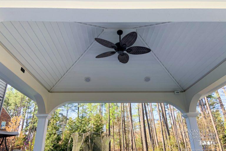12x14 vinyl pavilion with a ceiling fan