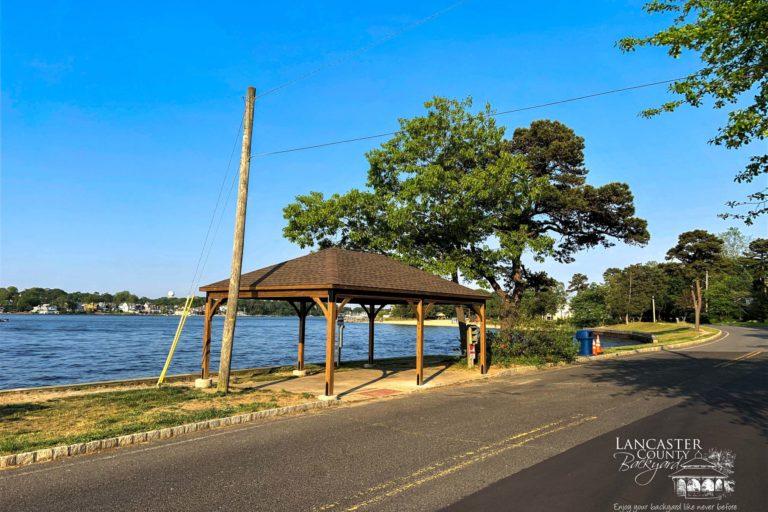 16x24 lakefront wooden pavilion