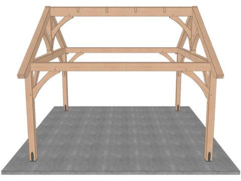 set ridge beam for timber frame pavilion kit