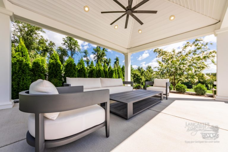 14x18 vinyl caribbean pavilion with beautiful outdoor furniture