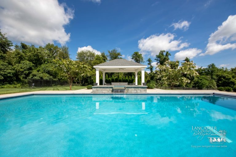 beautiful caribbean pavilion by a large pool