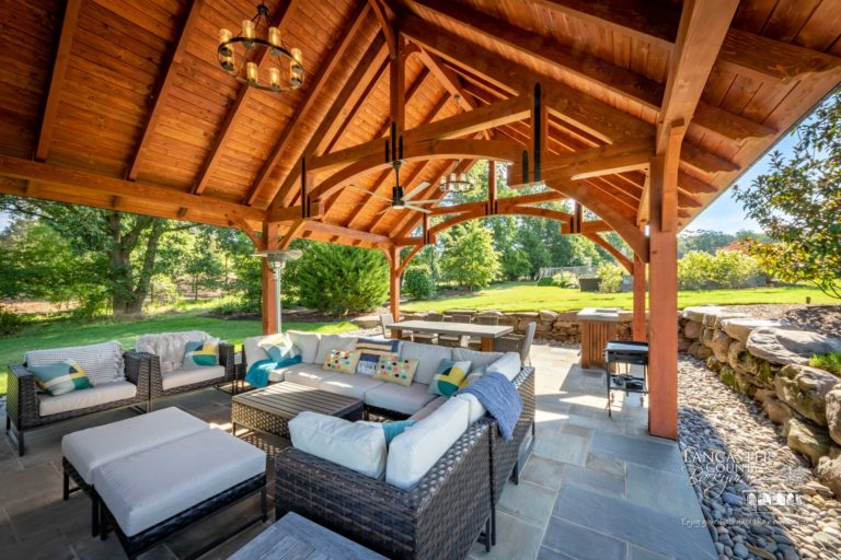 grand teton pavilion with beautiful outdoor furniture