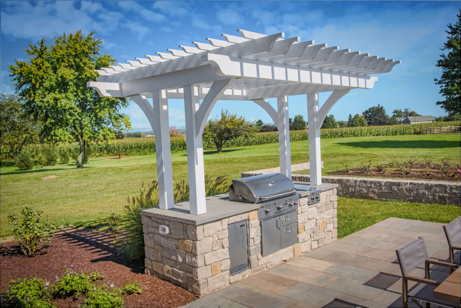 custom exotic wood pergola outdoor grill cover in hershey pa