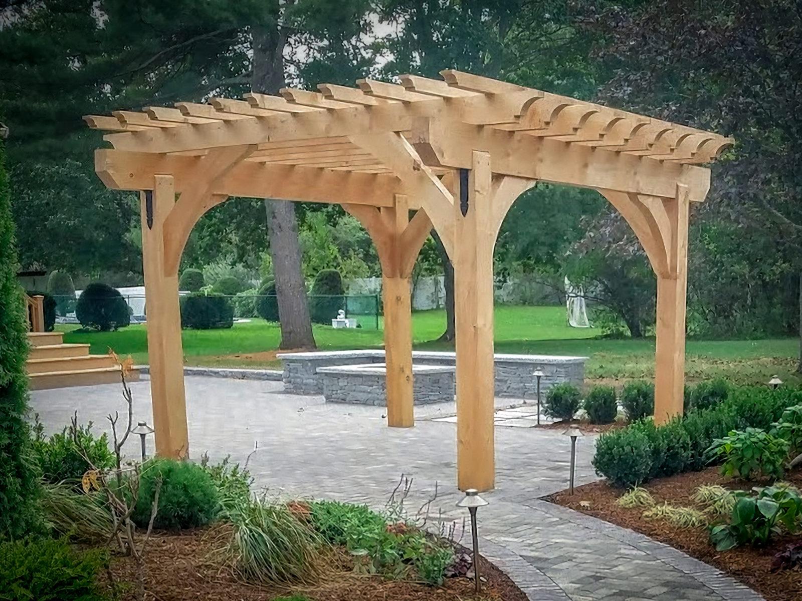 new heavy timber wood pergola style from lancaster county backya