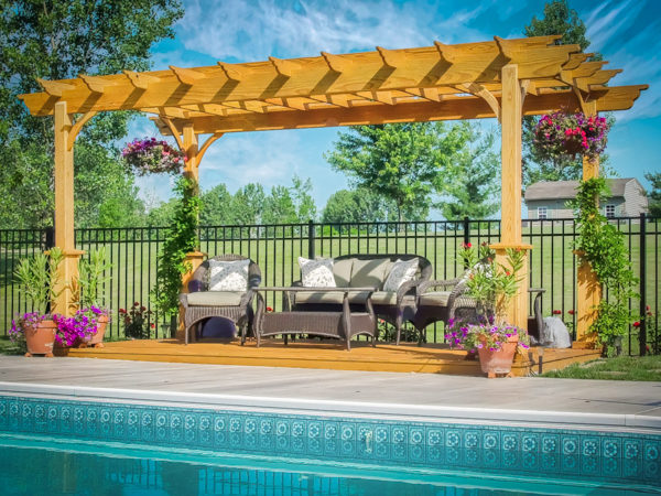 traditional southern pine wood pergola by pool from lancaster pa