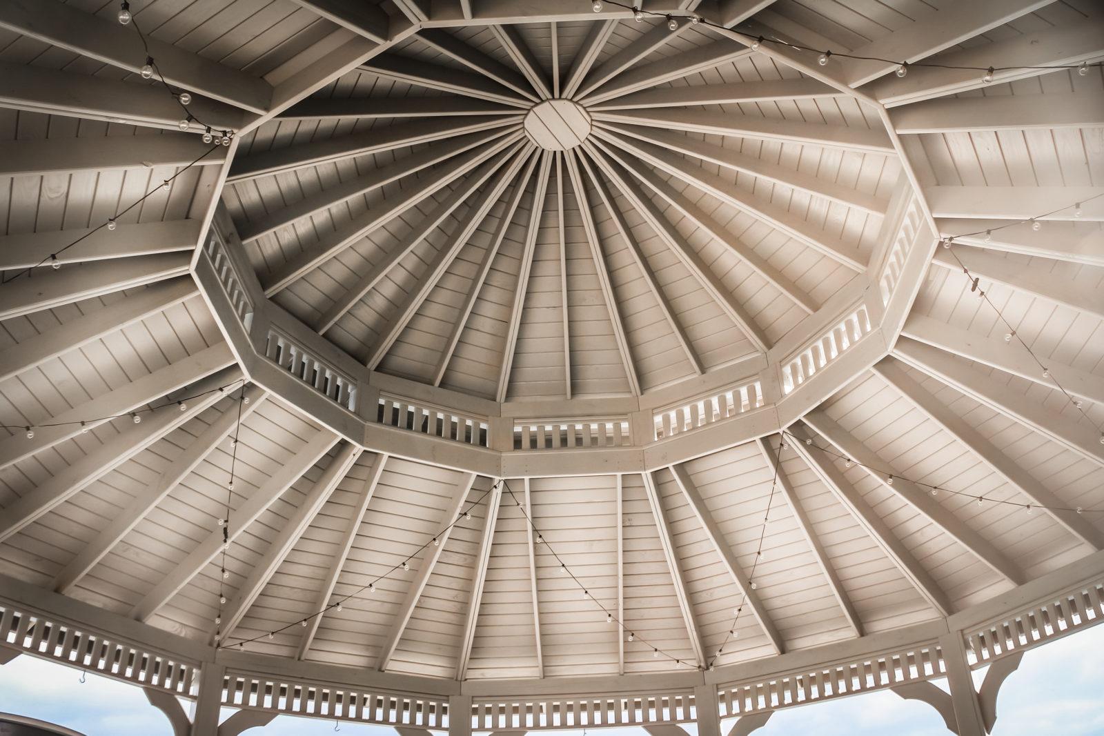 roof design in luxury wood gazebo
