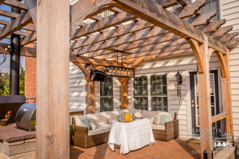 backyard wooden pergola