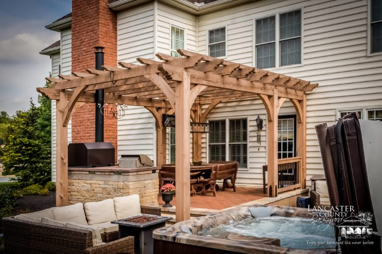 Heavy timber wooden pergola pa
