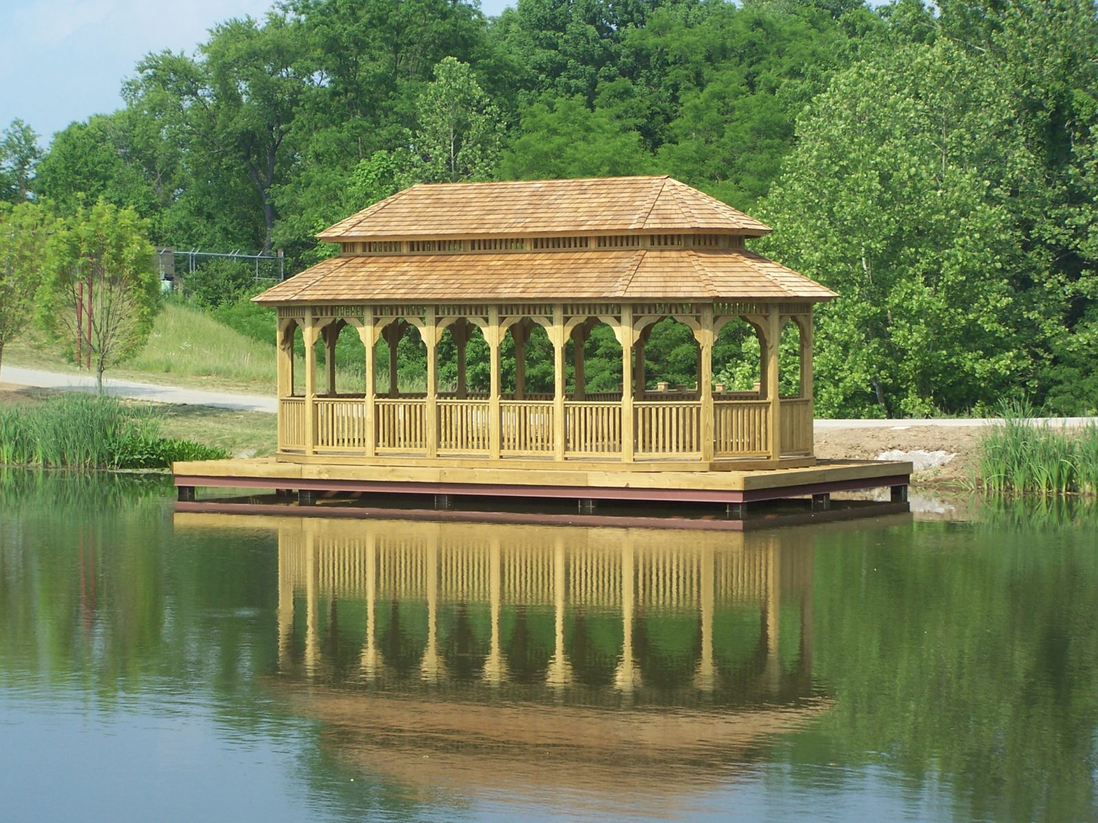 wooden oval heavy timber gazebo