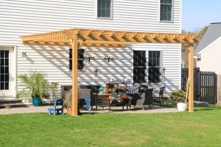 wooden attached pergola