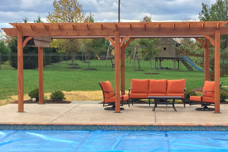 cedar wood pergola post and braces