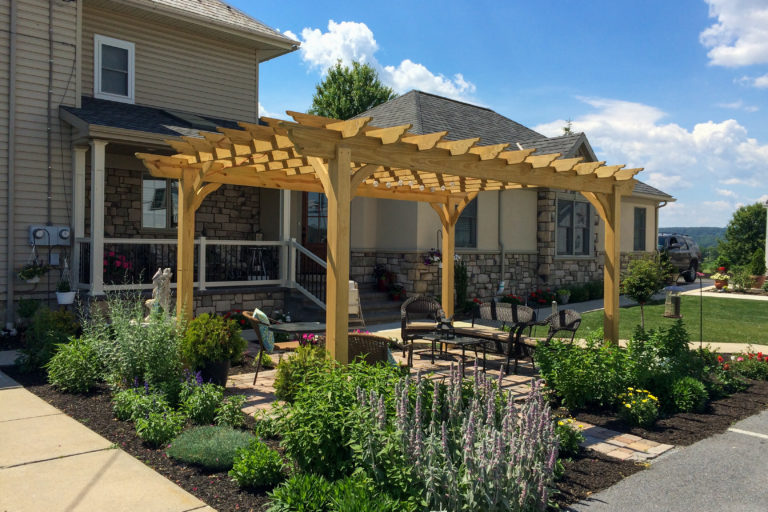 wooden pergola at country view