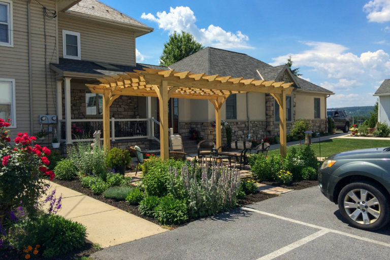 wooden pergola at country view pa