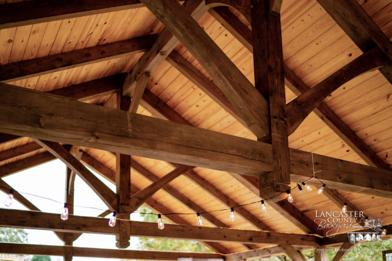 beautiful timberframe pavilion beams inside