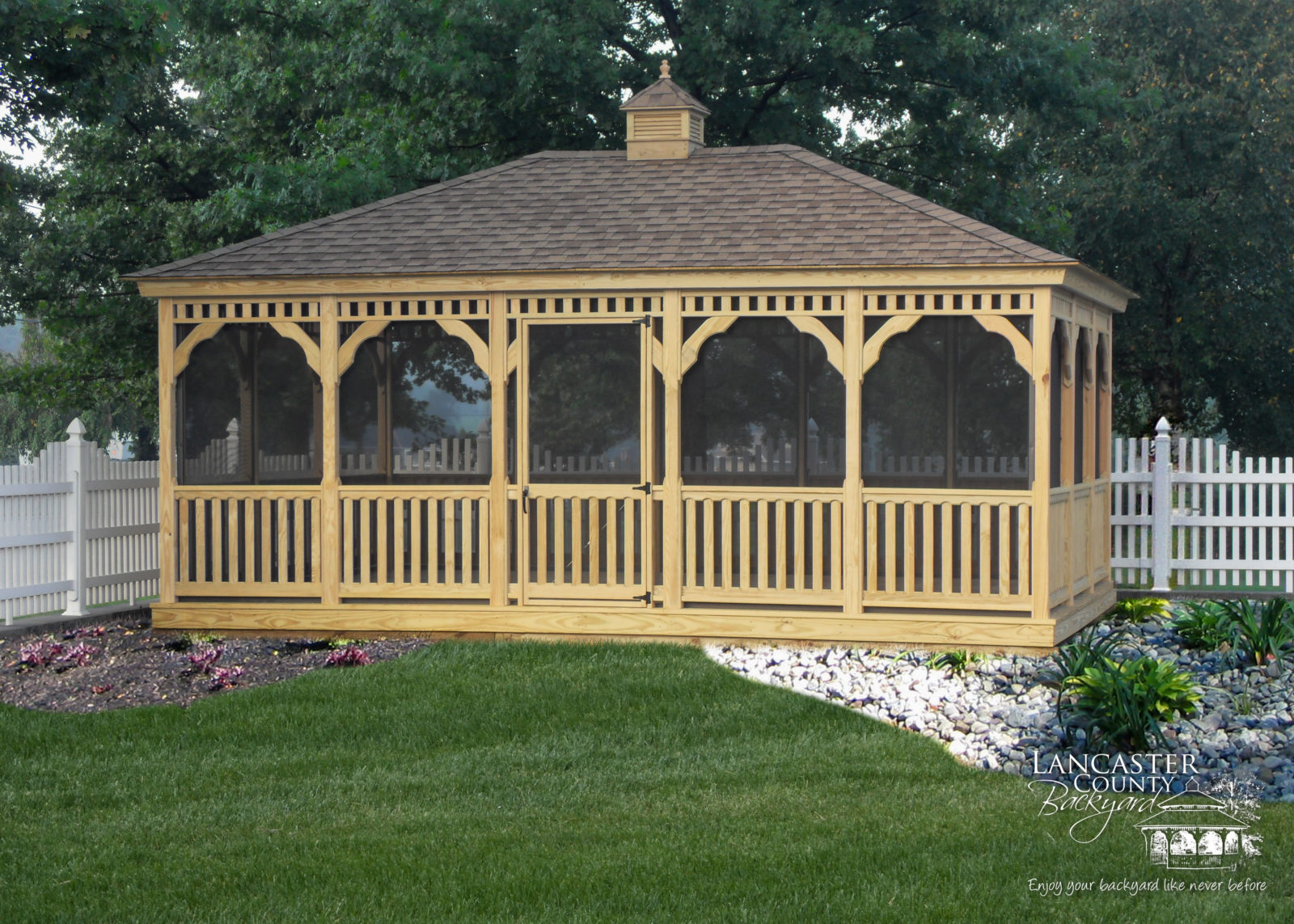 wooden rectangular gazebo