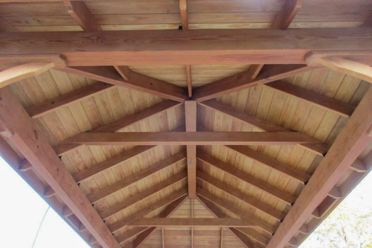 underside of an outdoor pavilion roof