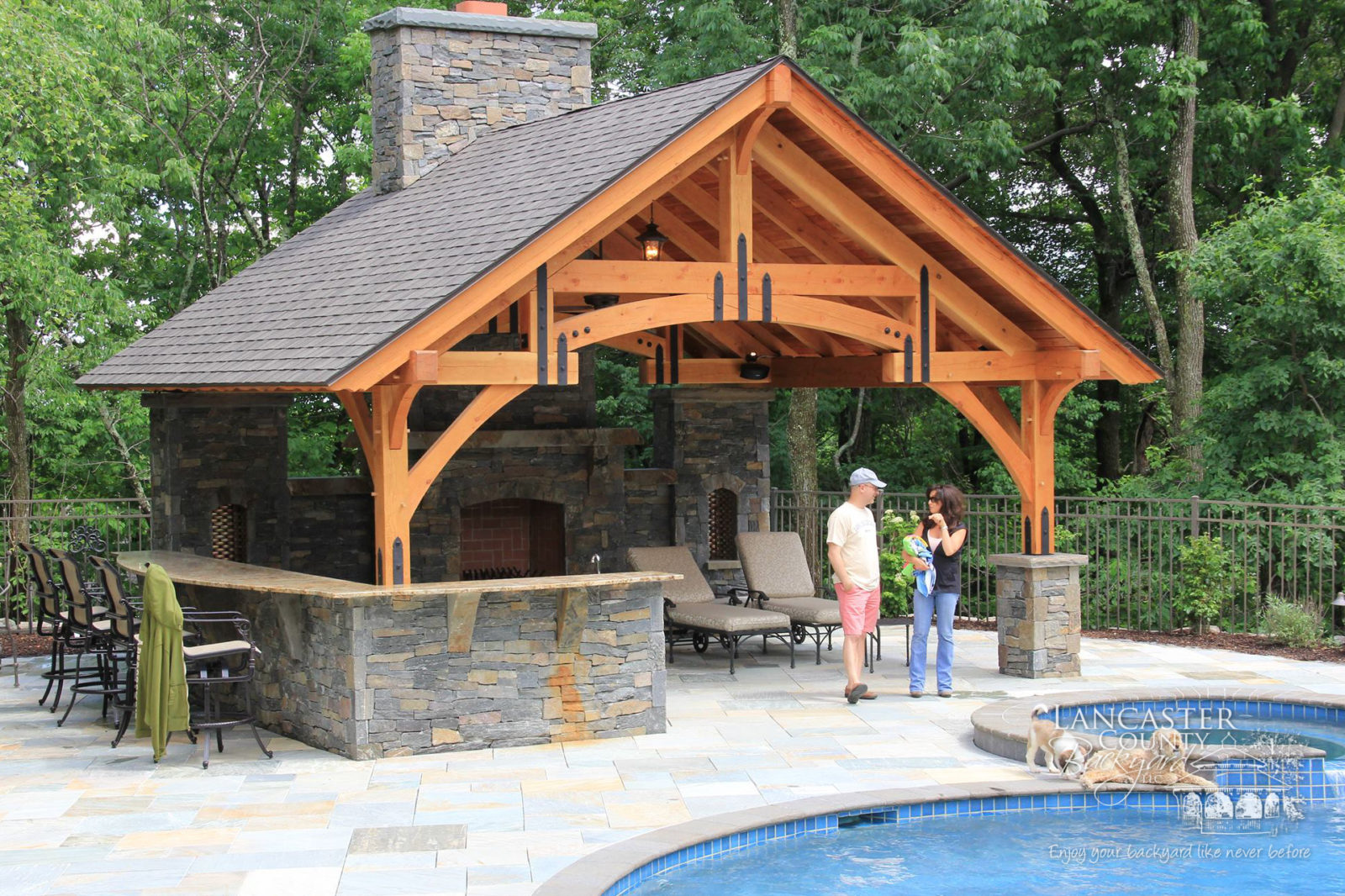 outdoor timber frame pavilion