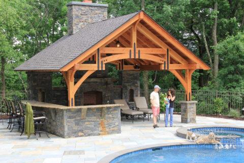 outdoor timber frame pavilion