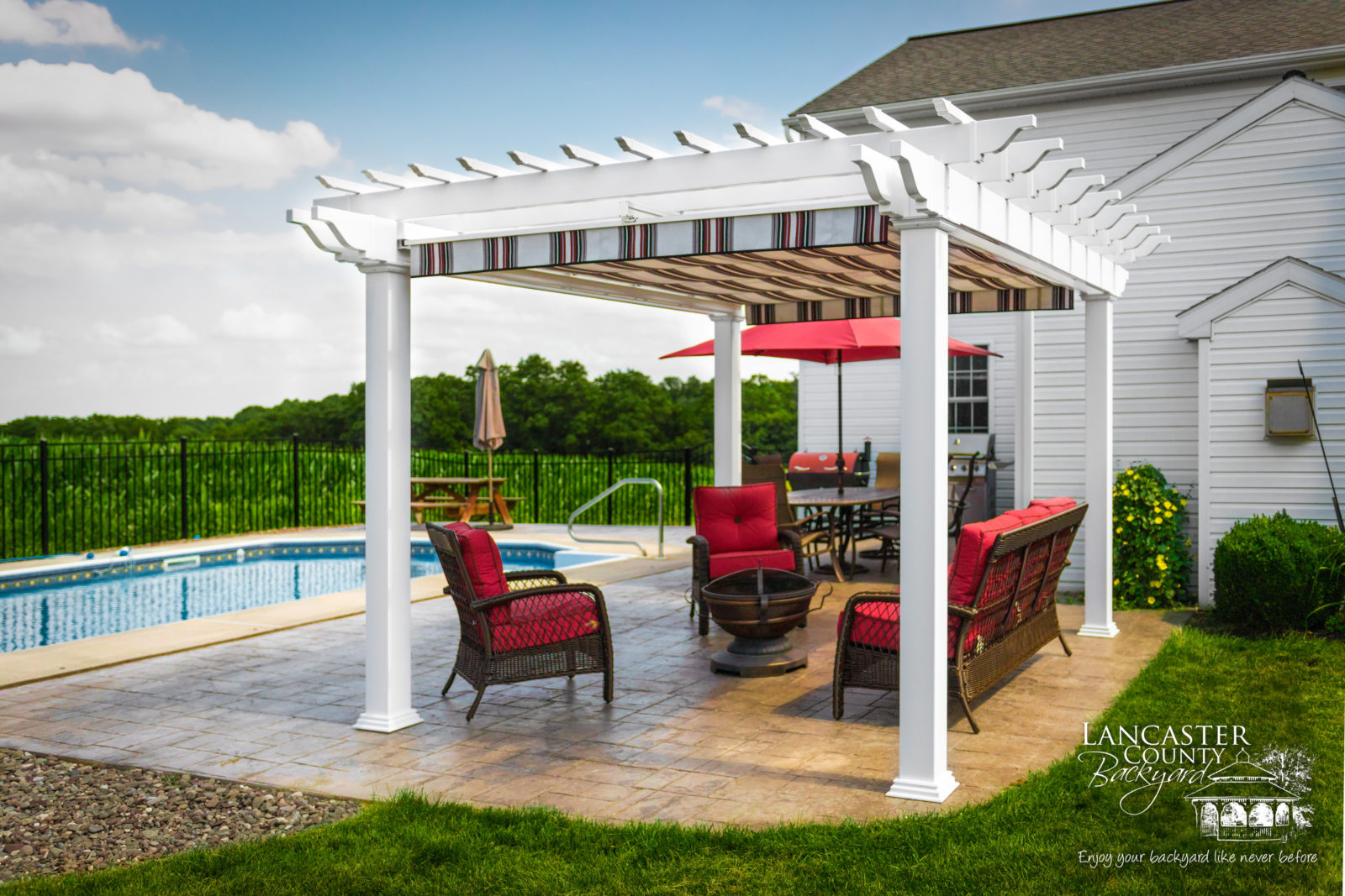 beautiful backyard vinyl pergola design idea for pool