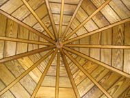 painted backyard gazebo ceiling with cedar shingles