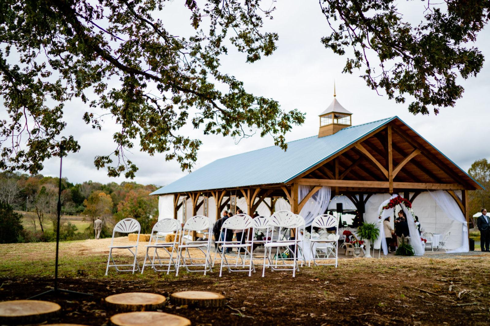 wedding ceremony in large park pavilion