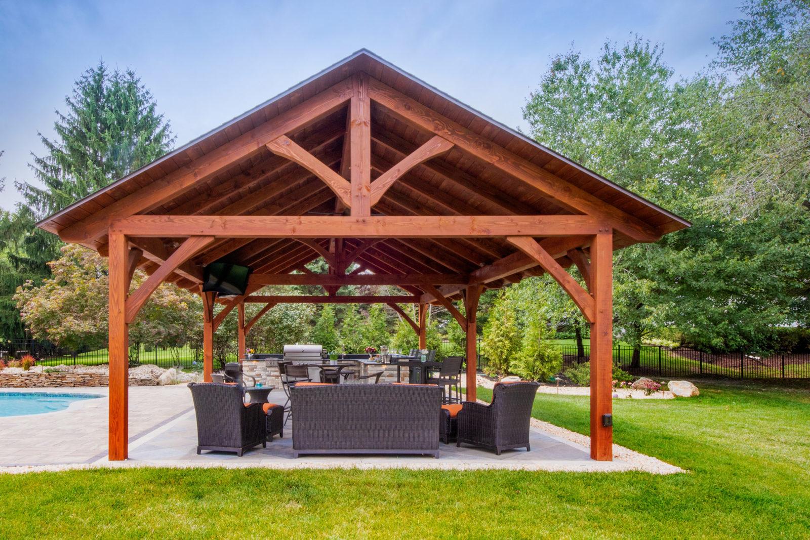 timber frame large pavilion provides visual interest