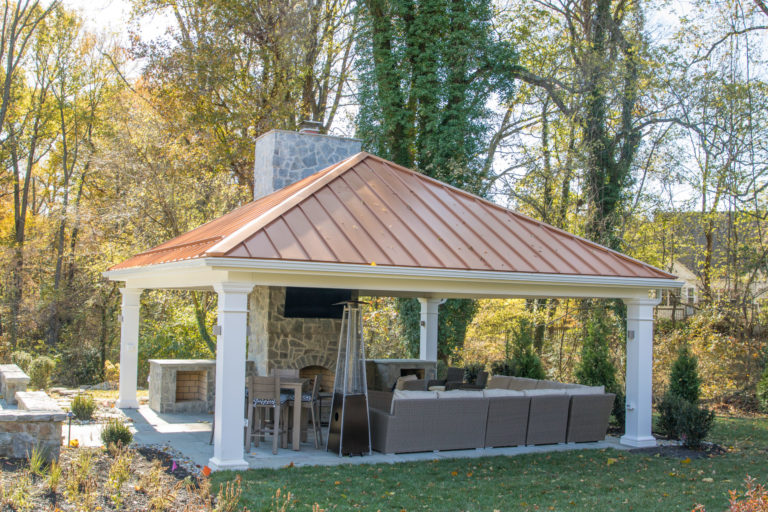 carbbean vinyl backyard pavilion with outdoor furniture