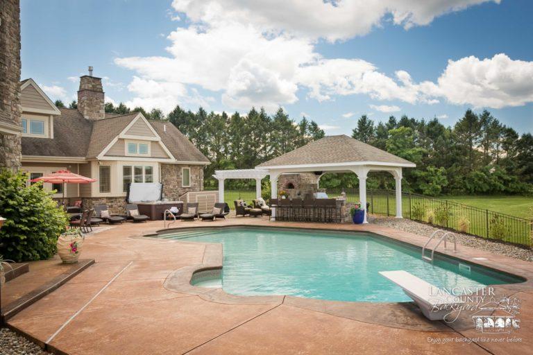 pergola and pavilion with a beautiful pool