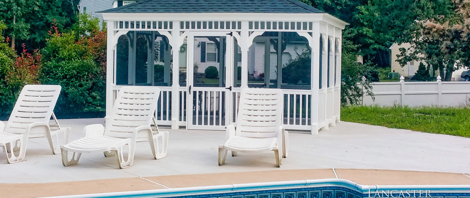 vinyl rectangle poolside gazebo