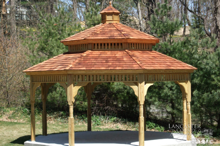 red roof dodecagon wood gazebo