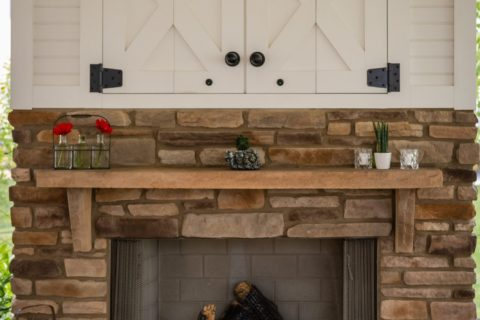 outdoor fireplace under pavilion with fireplace