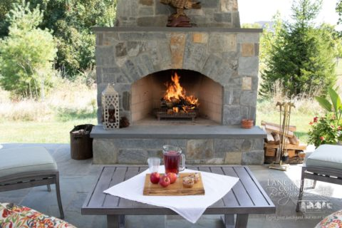 food to eat under outdoor fireplace under pavilion