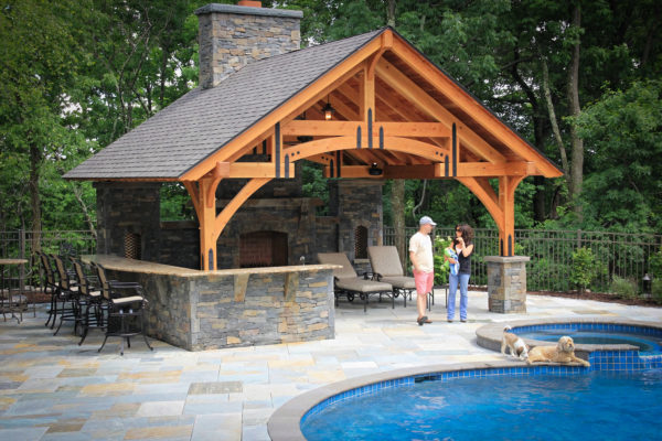 arched hammerbeam timber frame pavilion in pa