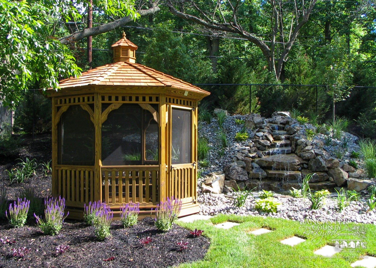 A Permanent Irresistible Wooden Gazebo At The Backyard